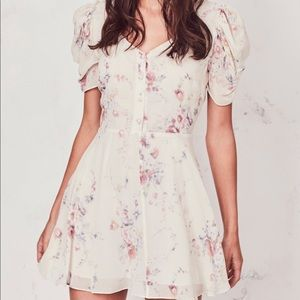 LoveShackFancy Cora Floral Silk Puff Sleeve Dress